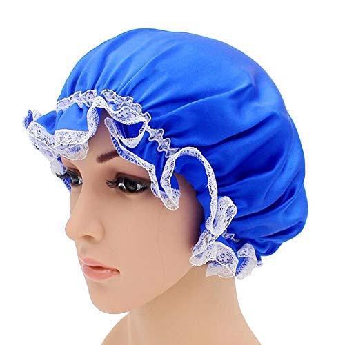 WJH Sleeping Cap pour Les Femmes en Soie Naturelle avec Sommeil Caps Bande élastique pour Cheveux Perte de Sommeil sur la Protection des Cheveux (2 pièces),Bleu