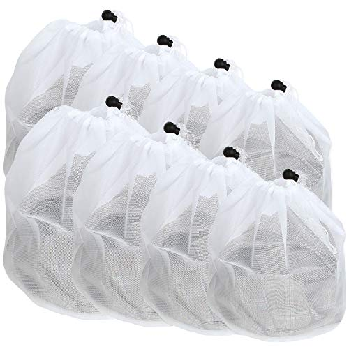 AHUNTTER 4 Sizes Laundry Wash Bags for Washing Machine 8-Pack Large & Small Drawstring Net Bags Fine Weave Mesh Wash Bags for Delicates Blouse Bras Shoes Socks Trainers Baby Cloths Toy Storage