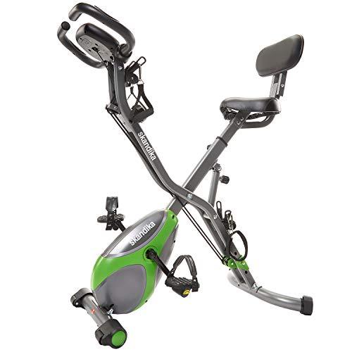 skandika Foldaway X-3000 - Vélo d'appartement x-Bike Pliant - 8 Niveaux de Resistance - Dossier/Bluetooth (Gris/Vert)