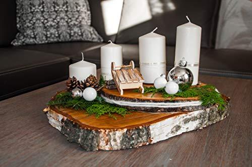 Adventskranz aus geölten Baumscheiben (weiß)