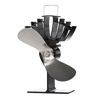 CAFRAMO UltrAir 810CAKBX Classic Styled Heat Powered Wood Stove Fan 125 CFM Nickel Mid-Sized 7.9  Blade