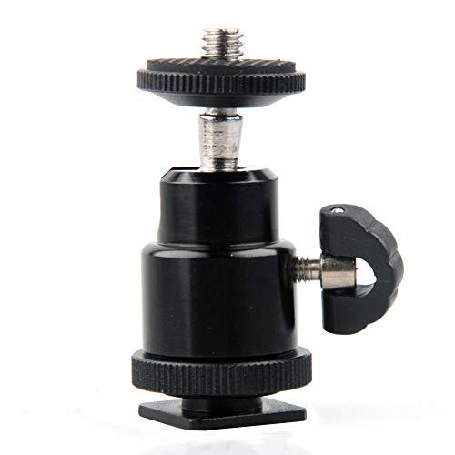 PULABO Compact Mini 360 Degree Swivel Ball Head Tripod Mount with Hot Shoe Adapter - Black Creative