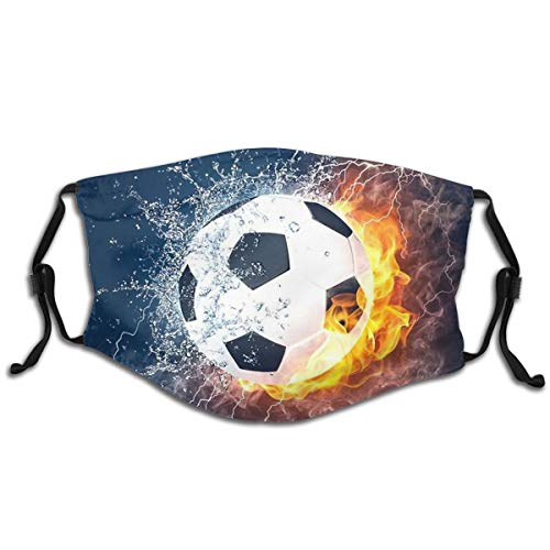 ValueVinylArt Kids Face Mask Football Water Fire Washable Reusable Cute Cool with 2 Filters for Girls Boys