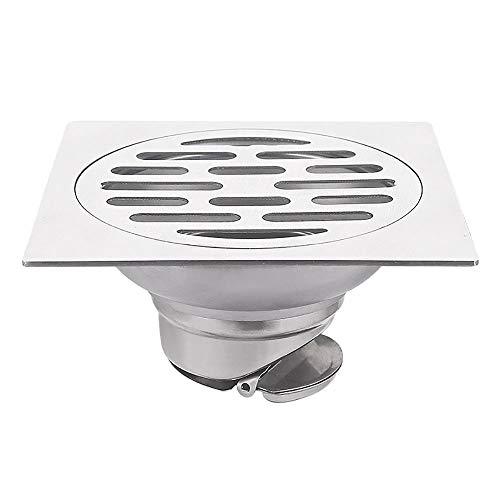 Voixy Bodenablauf für Badezimmer, Küche, Balkon, aus Edelstahl 304, 12 x 12 cm (1367, quadratisch)