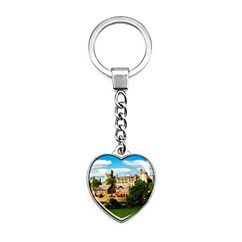 Hqiyaols Keychain Großbritannien England Arundel Castle Schlüsselkette Kreative Doppelseitige Herz-Kristall-Schlüsselkette Tourist Souvenir Metal