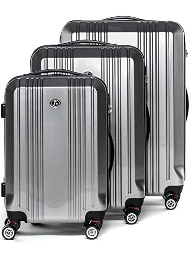 FERGÉ Luggage Set 3 Piece Hard Shell Travel Trolley Cannes Suitcase Set 4 Twin Spinner...