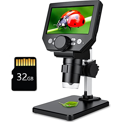 LCD Digital Microscope,4.3 Inch 1080P 10 Megapixels,1-1000X Magnification Zoom Wireless USB Stereo Microscope Camera,10MP Camera Video Recorder with HD Screen