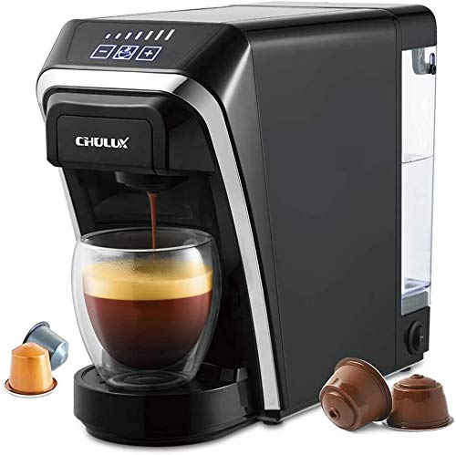 CHULUX Máquina de café de cápsulas, Espresso adecuada para cápsulas Nespresso / Dolce Gusto, Máquina para café expreso con tanque de agua extraíble para 27 oz