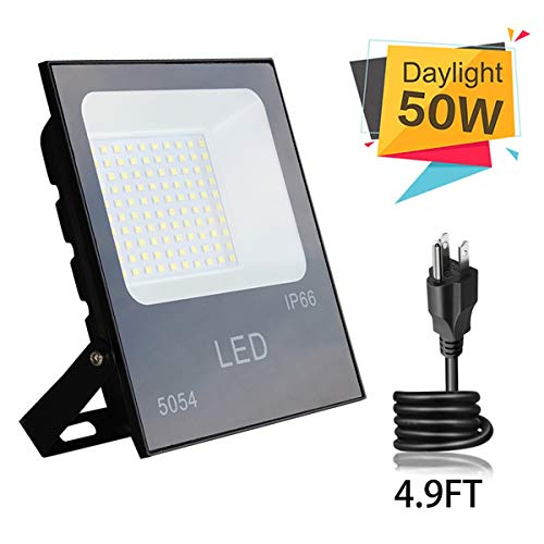 50W LED Flood Light,Bucham Outdoor Floodlights Landscape Wall Lights IP65 Waterproof Anti-Glare Garage Light 5000LM, 250W Halogen Bulb Equivalent Lighting for Courtyard,Lawn and Garden