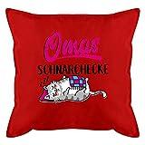 Oma Kissen - Omas Schnarchecke Katze - schwarz/Fuchsia - Unisize - Rot - Kissen mit Füllung - GURLI...