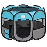 EXPAWLORER Portable Puppy Playpen Removable Dog Mesh Shade Cover Waterproof Oxford Cloth Easy Foldable Indoor/Outdoor for Puppies Cats Rabbits Pets