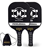 Pickleball Set, Pickleball Paddles, Pickleball Paddle Set of Two, Black MP Carbon Fiber Paddle with Racket Cover as Pickleball Gifts for Women Men Beach Ball Game Outdoor