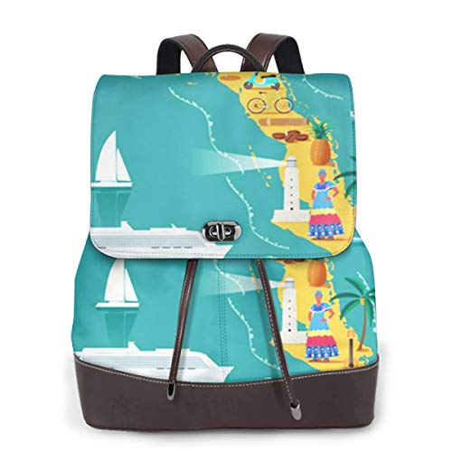 SGSKJ Rucksack Damen Strandkarte Kuba Kubanisch, Leder Rucksack Damen 13 Inch Laptop Rucksack Frauen Leder Schultasche Casual Daypack Schulrucksäcke Tasche Schulranzen