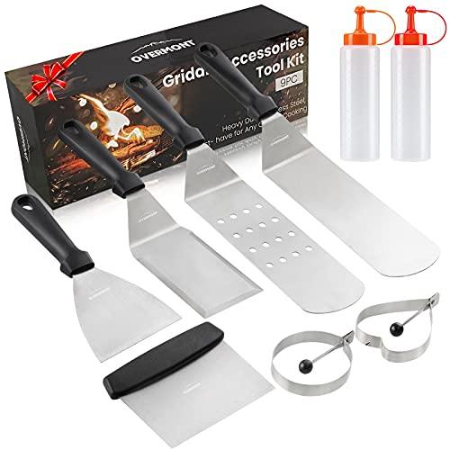 Overmont Grillspachtel Grillbesteck Set TÜV-Zertifiziert Grillwender BBQ Werkzeugset Edelstahl 9Pcs für Outdoor und Indoor