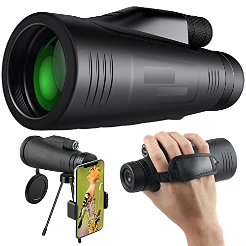 HomRealm 12x50 HD Monocular Telescope for Adults High Power Bak4 Prism & FMC Lens Monocular Telescope with Smartphone Holder Tripod Waterproof for Hiking Birdwatching Camping Traveling Concert