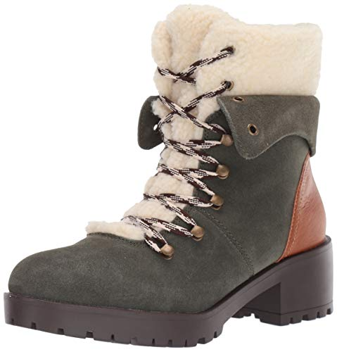 Skechers Women's Trail Troop-Sherpa Tongue and Collar Mid Hiker Boot Fashion, Olive, 9 M US