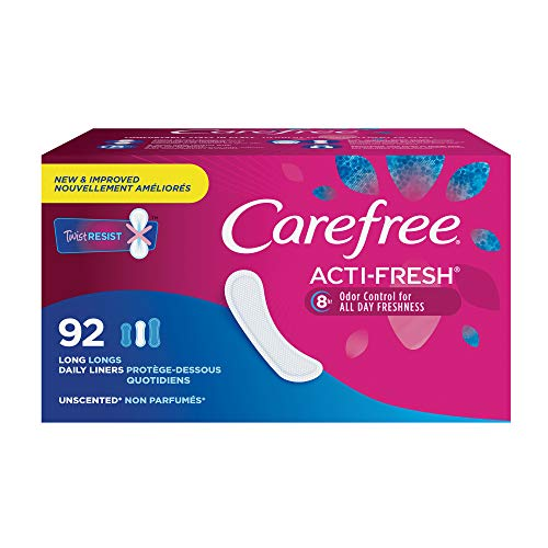 Carefree Acti-Fresh Thin Panty Liners, Soft and Flexible Feminine Care Protection, Long, 92 Count