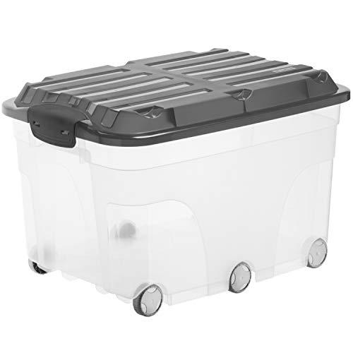 Rotho Aufbewahrungsbox Roller 6 mit Deckel und Rollen, Kunststoff (PP), transparent/anthrazit, 57 Liter (59,5 x 40 x 37 cm)