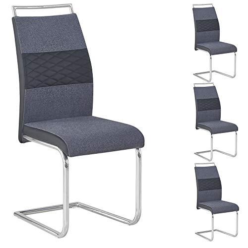 CARO-Möbel Esszimmerstuhl 4er Set Erza Stoffbezug dunkelgrau mit Kunstledereinsätzen Küchenstuhl Schwingstuhl
