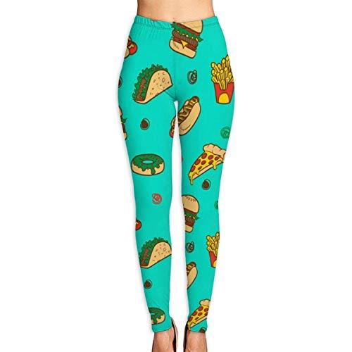 AAAshorts Fastfood - Pantalones de yoga impresos para mujer, cintura alta, leggings de entrenamiento