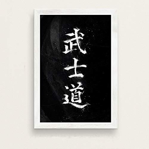 WDQTDW Leinwanddruck Samurai Bushido Japan Kunst Malerei Seide Leinwand Poster An Der Wand Home Decor Leinwand Gemälde Leinwand Kunst Poster An Der Wand Bild Home Decor
