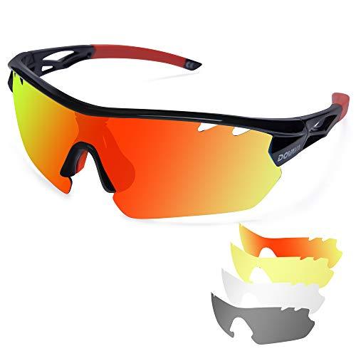 DOVAVA Fahrradbrille Sportbrille Herren Damen Polarisierte, Radsportbrillen UV400 Schutz mit 4 Wechselobjektiven für Radfahren Klettern Laufen Outdoor-Sport (Schwarz/Rot)