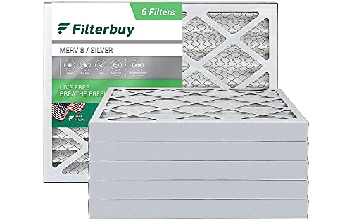 FilterBuy 16x20x2 Air Filter MERV 8, Pleated HVAC AC Furnace Filters (6-Pack, Silver)
