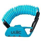 ULAC 自転車 ロック 鍵 ワイヤーロック ロードバイク ベビーカー バイク サドルロック 軽量 携帯便利 盗難防止 四つ色(青)