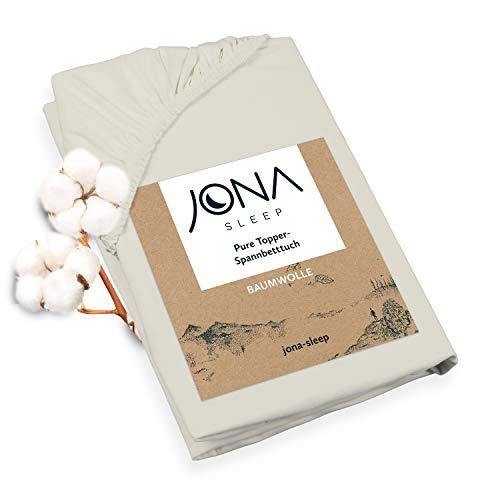 Jona Sleep Funda para topper (180 x 200 cm), sábana ajustable de algodón para el sobrecolchón de cama con canapé, certificación Öko Tex, sábanas ajustables para cubrir con comodidad