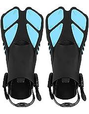 Snorkel Fins, Adjustable Buckles Open Heel Swim Fins Soft TPR Dual Channel Drainage Making Diving Easier, Comfortable Long Swimming Flippers Swim Gear for Snorkeling Adult Men Womens Kids