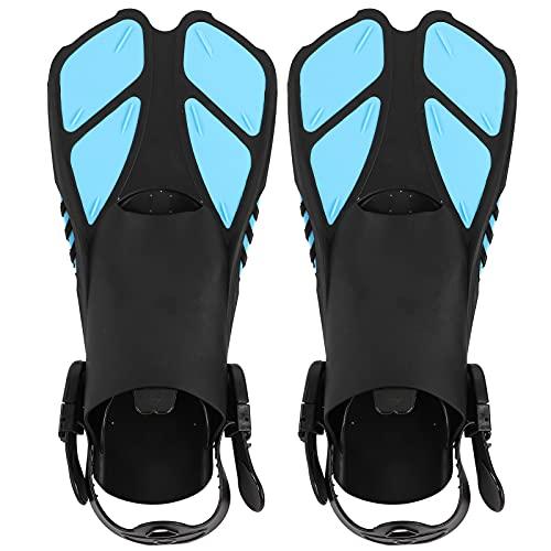 1 par de Aletas de natación, Aletas de Buceo Ajustables Aletas de natación largas de tacón Abierto de TPR Suave para bucear(MD)
