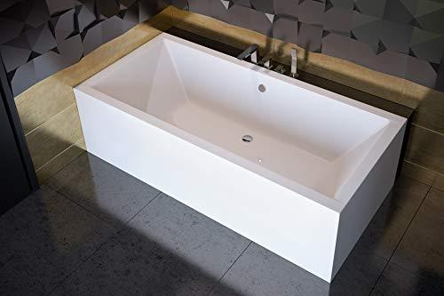 BADLAND Rechteck Badewanne Wanne Quadro 180x80 mit Acrylschürze, Füßen und Ablaufgarnitur GRATIS