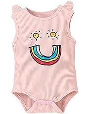 الرضع الطفل بنات قوس قزح حللا طباعة الوليد جولة الرقبة أكمام مضلع ارتداءها قطعة واحدة دعوى لحفل عيد (Color : Pink, Kid Size : 24M)