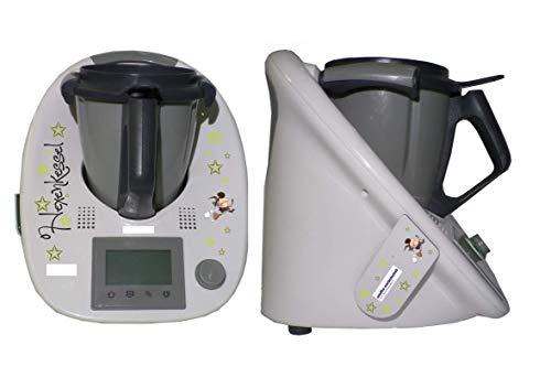 Aufkleber SET passend für KINDER Thermomix + Cookkey TM 5 Hexe grün neu