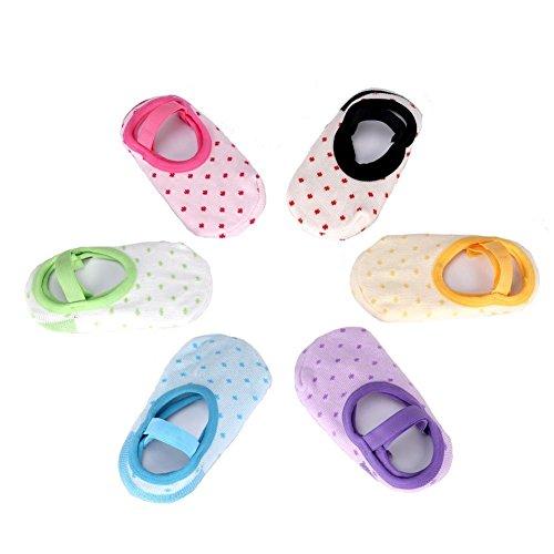ElecMotive Kinder 6-pack Socken wie Taufschuhe rutschfeste Fußsocken Babysocken Schuhe für die Kinder von 6-36 Monat in 6 Farbe