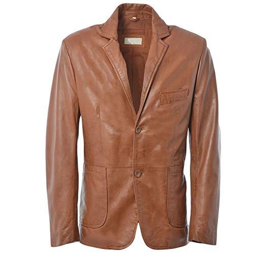 GIEMOTO lederen blazer jas Cognac asfalt kleur heren