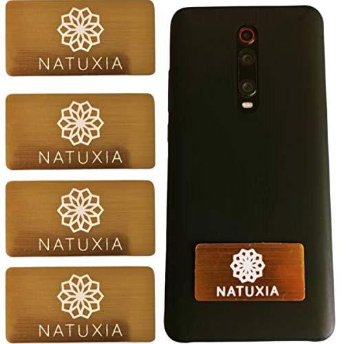 Natuxia Telefoon Stralingsbescherming Stickers, Emf Bescherming Apparaat, Anti Stralingssticker, Scalar Energy Emf Neutralizer voor Iphone, Android, Samsung, Alle Mobiele telefoons EMF Shield 4 Goud