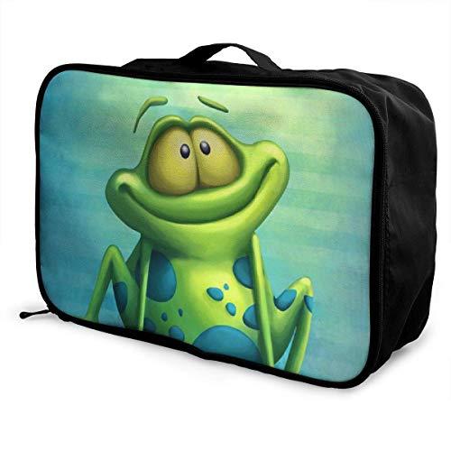 wasserdichte Faltbare Reisetasche Mode Lässig Lagerung Einkaufstasche Leichte Große Kapazität Tragbare Lage Tasche für Frauen und Männer (Frosch Uhr Schmetterling)