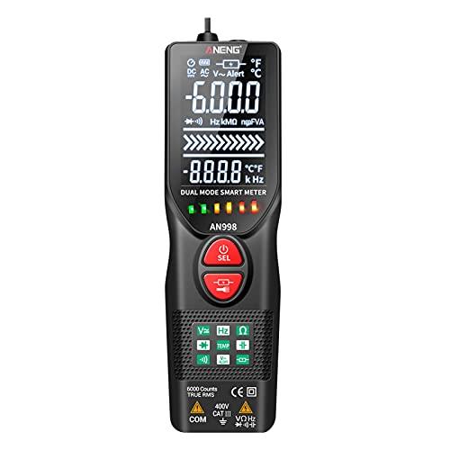 Weytoll Digital Multimetro Automatico Intelligent,Amperios AC,Voltaje de Corriente Continua,Resistencia, NCV Diodo,Frecuencia,Temperatura,Medición de Cable Vivo