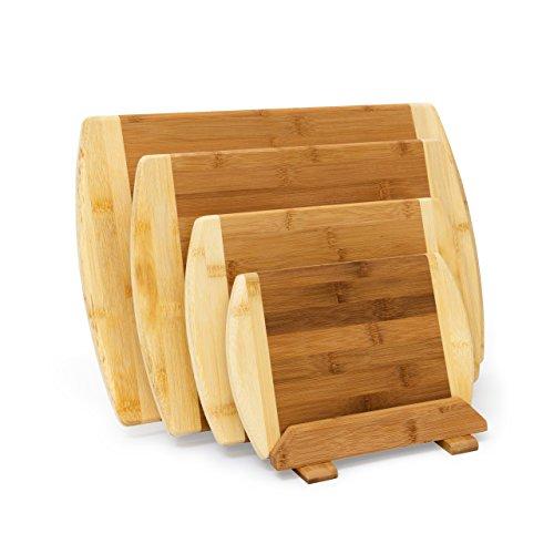 Relaxdays Set Taglieri da Cucina in Legno di bambù con Sostegno Apposito, 4 Pezzi Complessivi di Diverse, H X B X T: 28 X 44 X 30 cm, Marrone