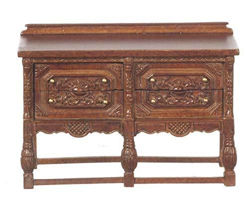 Melody Jane Dollhouse Gothic Chest Tudor Sideboard Walnut JBM Miniature Furniture