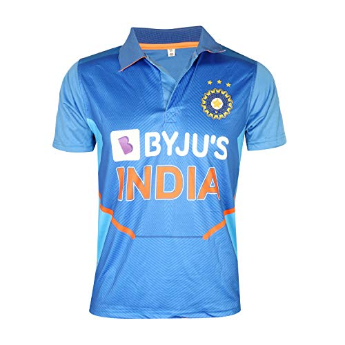 KD Cricket India Jersey Half Sleeve Cricket Supporter T-Shirt New BYJU'S Team Uniform Polyster Fit Material 2020-21 Kids to Adults(Plain,42)