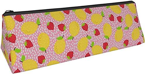 Bolsa de bolígrafo triangular con diseño de fresa y limón, para guardar objetos pequeños en la escuela, oficina, viajes o maquillaje.