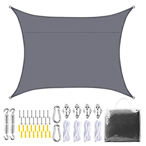 JNCH Tenda a Vela Parasole Rettangolare 3x4m Tenda Ombreggiante Impermeabile Quadrata Telo da Sole Respirante Protezione Solare Anti UV per Giardino Tenda a Vela da Esterno con Kit di Installazione