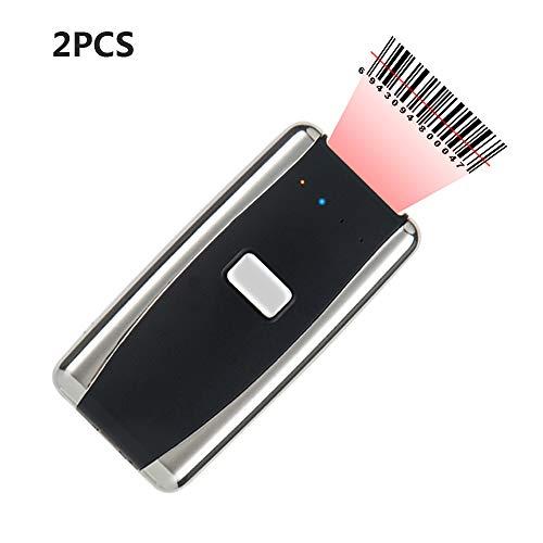 ZUKN Tragbarer Mini-Barcode-Scanner Bluetooth Wireless Laser Oder CCD 1D-Codeleser Kompatibles Smartphone, Tablet, Laptop-Anzug Für Den Einzelhandel Pos 2 Stück,Laser