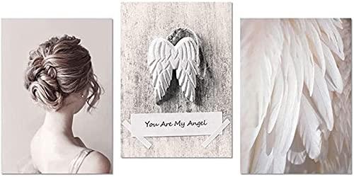 YHJK Lienzo Obra de Arte Amor Póster de Arte Impresión Rosa Alas de ángel Pluma Arte de la Pared Imagen Decoración de la Pared del hogar 3x50x70cm sin Marco