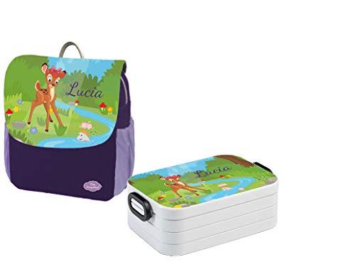 Mein Zwergenland Set 1 Kindergartenrucksack und Brotdose Maxi Happy Knirps NEXT Print mit Name Reh, 6L, Lila