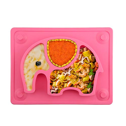 Silicone Suction Plates for Babies - SILIVO Non Slip Toddler Plates for Babies,Kids and Children - Baby Plates with Suction Cups Fits Most Highchair Trays - Pink
