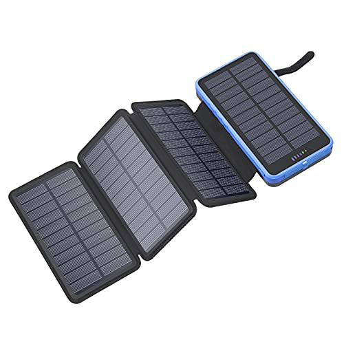ALLWIN Cargador Solar 10000mAh Banco de energía a Prueba de Lluvia con 4 Paneles solares Paquete de batería portátil para tabletas y teléfonos Inteligentes, etc,Negro