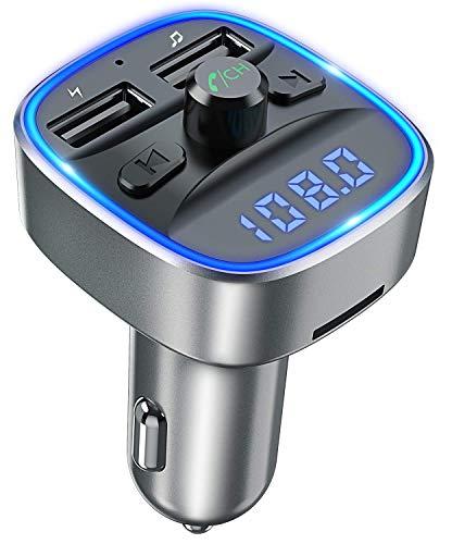 Transmisor FM Bluetooth Coche Manos Libres, Bluetooth para Coche, Cargador de Coche con Doble USB Reproductor MP3 Mechero Coche, Adaptador de Radio Soporte Tarjeta SD y U Disk (Gris)